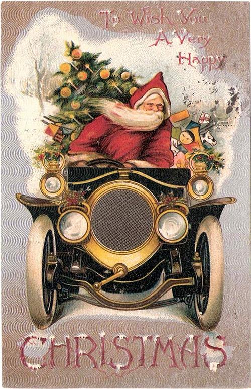 Новогодние открытки ретро классические автомобили 5.1.170.8